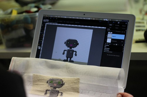 Needlepoint Robo in the making, photo by Kati Hyyppä
