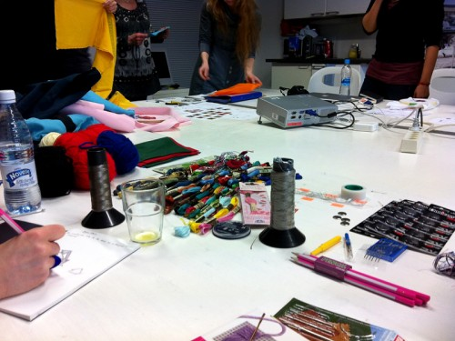 At the e-embroidery workshop