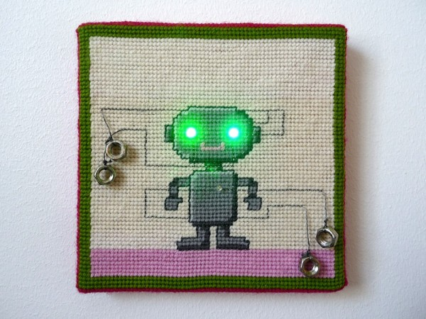 Needlepoint Robo with eyes on
