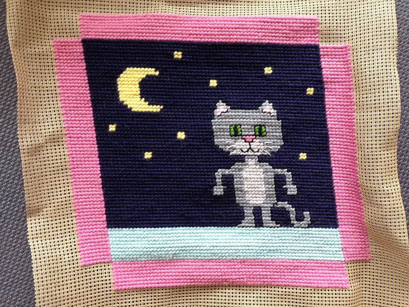 Needlepoint Luna - work in progress